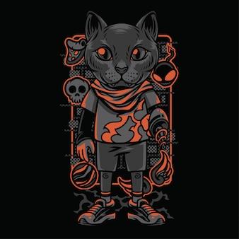 Ilustração de raças de gatos de estilo infantil