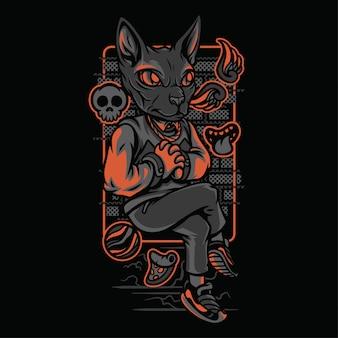 Ilustração de raças de gatos de estilo rico