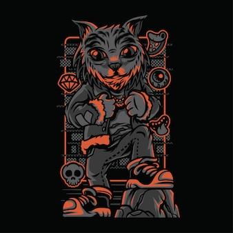 Ilustração de raças de gatos de estilo selvagem