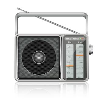 Ilustração de rádio vintage portátil em fundo branco