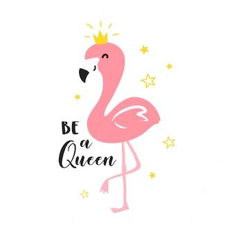 Ilustração de rainha fofo flamingo
