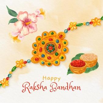 Ilustração de raksha bandhan pintada à mão em aquarela