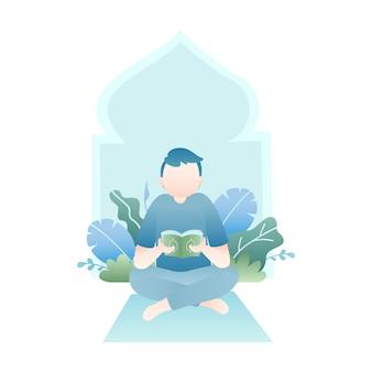 Ilustração de ramadã com homem lendo o alcorão sagrado com folhas tropicais