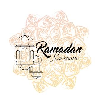 Ilustração de ramadan kareem cartão com lanterna