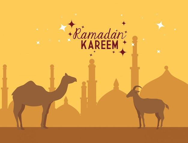 Ilustração de ramadan kareem com camelos