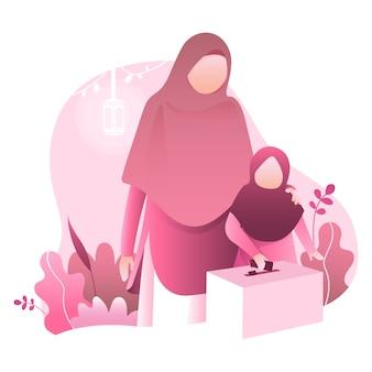Ilustração de ramadan kareem com família muçulmana
