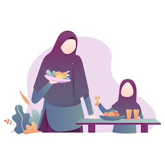 Ilustração de ramadan kareem com ilustração da família muçulmana