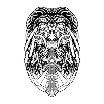 Ilustração de rangda bali