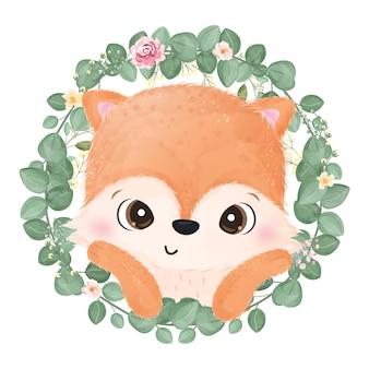 Ilustração de raposa bebê fofo em aquarela
