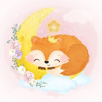 Ilustração de raposa bebê fofo em efeito aquarela