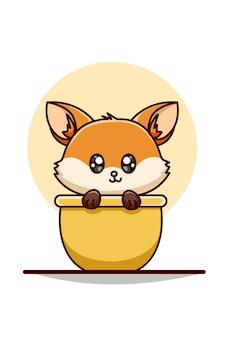 Ilustração de raposa bebê na tigela