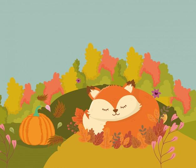 Ilustração de raposa bonita dormindo nas folhas de outono