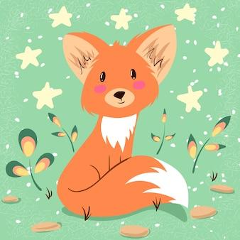 Ilustração de raposa bonitinha. idéia para imprimir t-shirt.