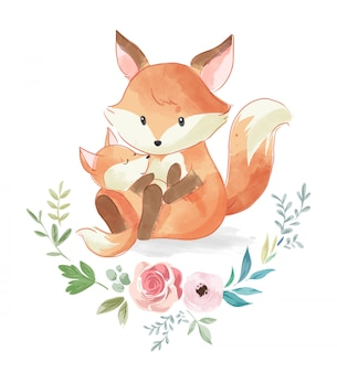 Ilustração de raposa família fofa com flores