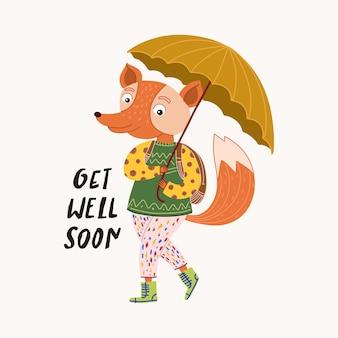 Ilustração de raposa fofa com guarda-chuva