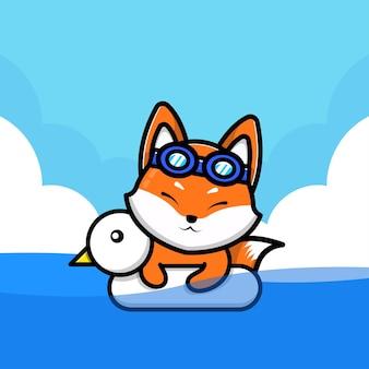 Ilustração de raposa fofa nadando com anel de natação
