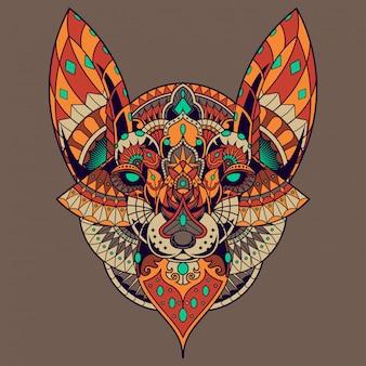 Ilustração de raposa, mandala zentangle