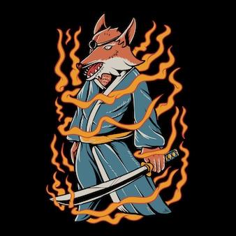 Ilustração de raposa samurai