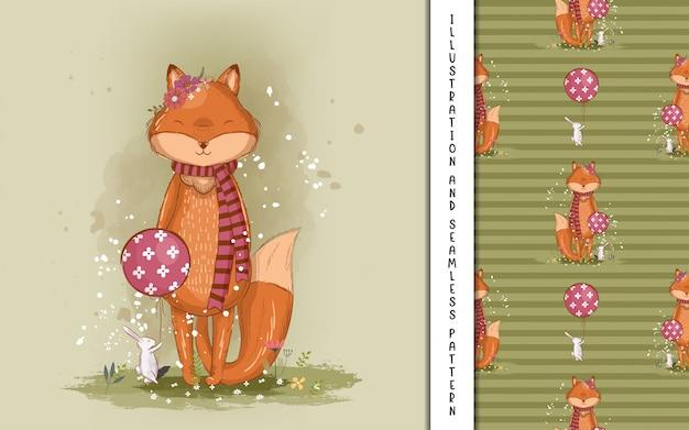 Ilustração de raposinha bonitinha para crianças