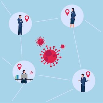 Ilustração de rastreamento de contato de pessoas de escritório de localização com vírus.
