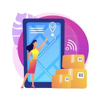 Ilustração de rastreamento de entrega inteligente