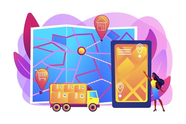 Ilustração de rastreamento de entrega