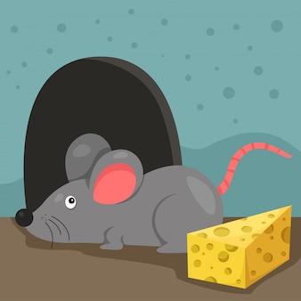 Ilustração de rato e casa
