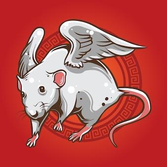Ilustração de rato voar
