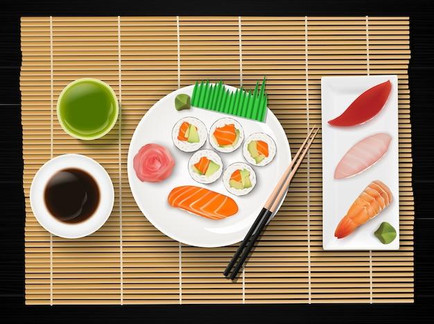 Ilustração, de, realístico, sushi