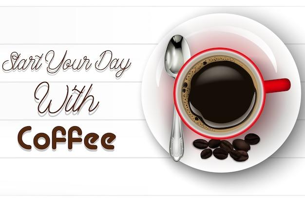 Ilustração, de, realístico, vermelho, xícara café