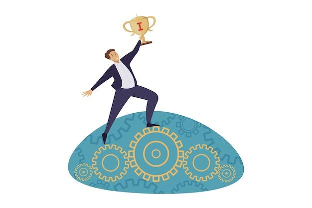 Ilustração de realização de meta bem-sucedida