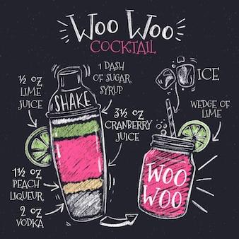 Ilustração de receita cocktail de quadro-negro