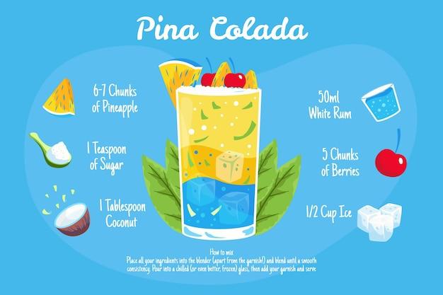 Ilustração de receita de coquetel de piña colada
