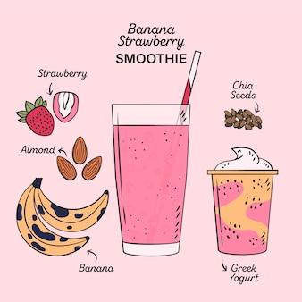 Ilustração de receita de smoothie de morango banana saudável