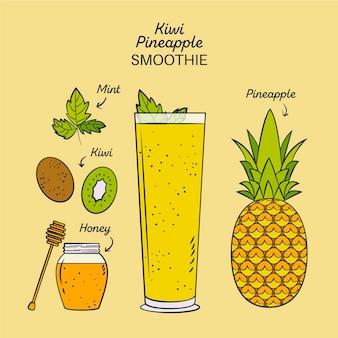 Ilustração de receita saudável smoothie de abacaxi kiwi
