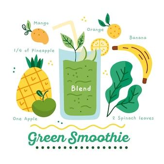 Ilustração de receita saudável smoothie greem