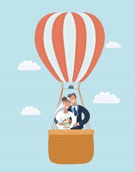 Ilustração de recém-casados em um balão de ar quente