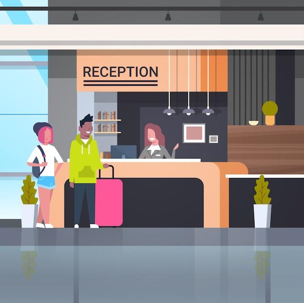 Ilustração de recepção com viajantes
