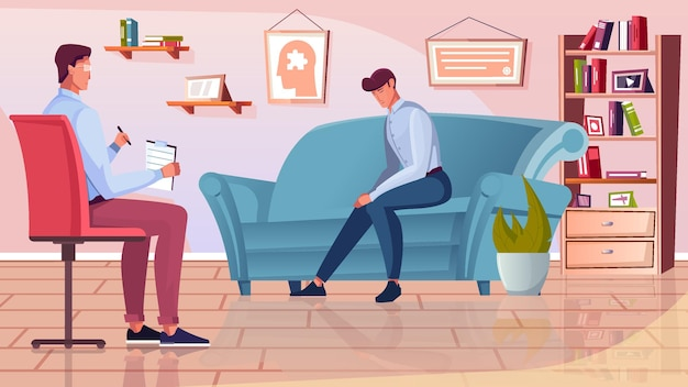 Ilustração de recepção de psicólogo com elementos de tratamento