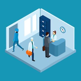 Ilustração de recepção do hospital