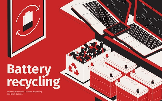 Ilustração de reciclagem de bateria