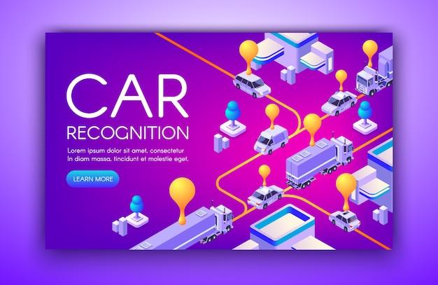 Ilustração de reconhecimento de carro de placas de registro de veículo e tecnologia de detecção de velocidade anpr