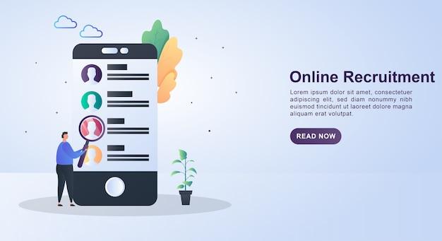 Ilustração de recrutamento online com o candidato na tela.