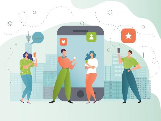 Ilustração de rede de mídia social, comunidade de pessoas pequenas de desenhos animados usando smartphone segue, tipo, feedback sobre o conteúdo da postagem do blog