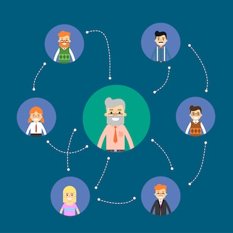 Ilustração de rede e trabalho em equipe social