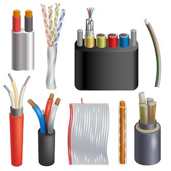 Ilustração de rede realista de cabo de tecnologia de conexão de fio de cabo conjunto 3d realista de internet de cabeamento elétrico conectar tecnologia isolado