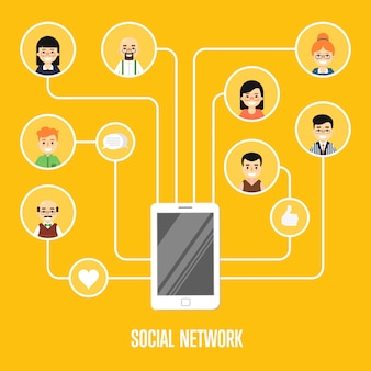 Ilustração de rede social com pessoas conectadas