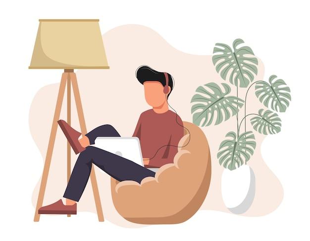 Ilustração de rede social. homem com fones de ouvido usando laptop