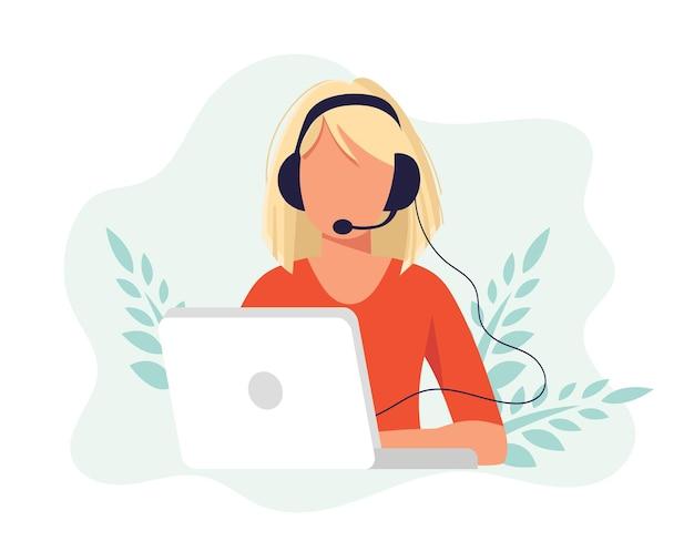 Ilustração de rede social. mulher com fones de ouvido usando laptop