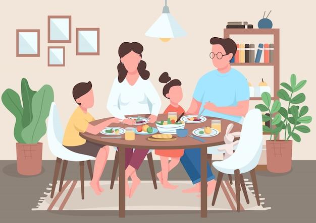 Ilustração de refeição em família